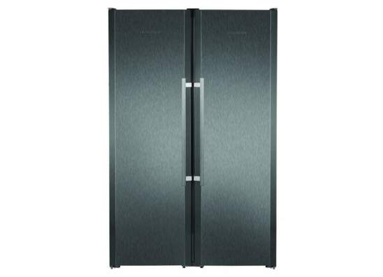 Side By Side Black Steel Fridge Freezer Kouzina Appliances